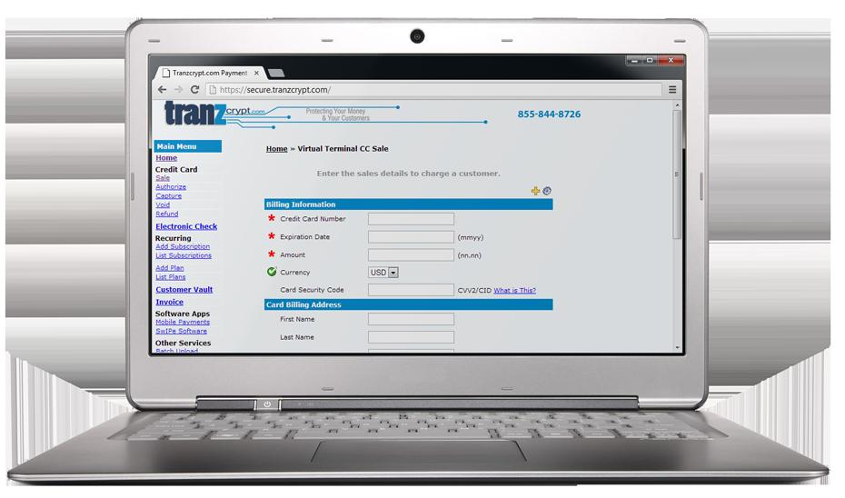 Tranzcrypt.com Payment Gateway Virtual Terminal